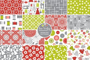 Sew Vintage Seamless Patterns