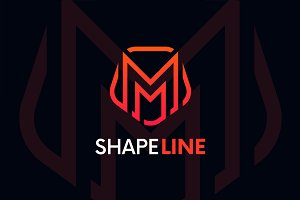 M letter linear logo icon emblem