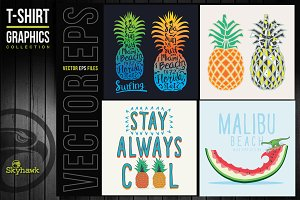 Vectors pinapple tee shirt graphics