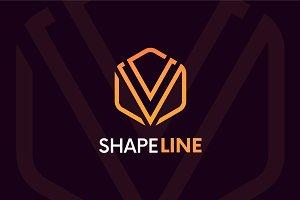 V letter linear logo icon emblem