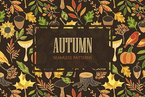 Autumn. Seamless patterns
