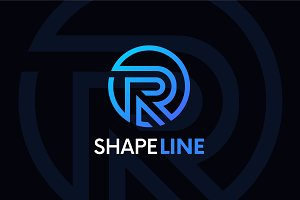 R letter linear logo icon emblem