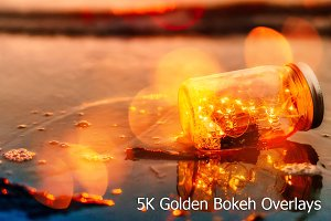 5K Golden Bokeh Overlays