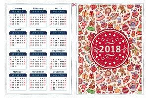 2018. Calendar template