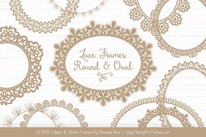 Champagne Round Lace Frames