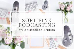Soft Pink Podcasting Styled Stock