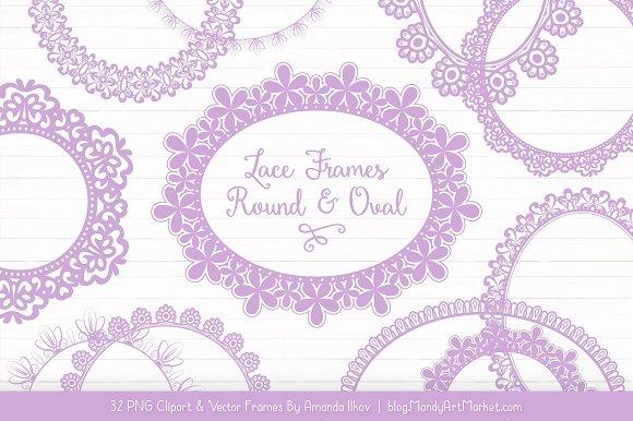 Lavender Round Lace Frames