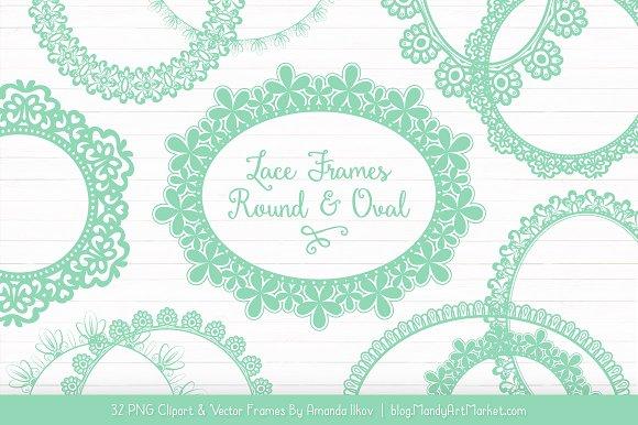 Mint Round Lace Frames