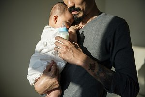Father spending time with his baby