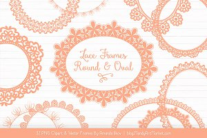 Peach Round Lace Frames
