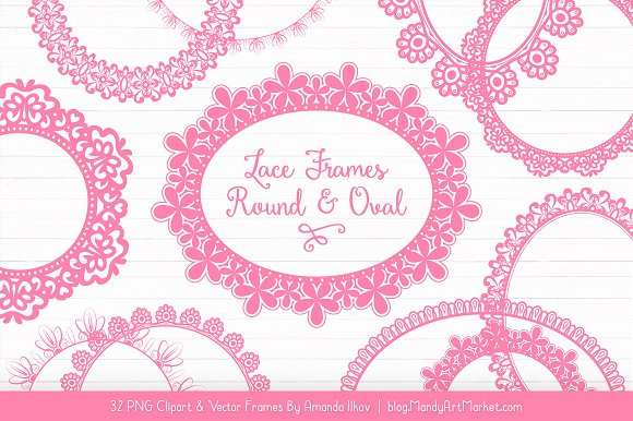 Pink Round Lace Frames