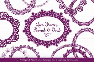 Plum Round Lace Frames