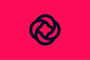Flower logo flat icon rose sign