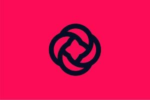 Flower logo flat icon rose sign