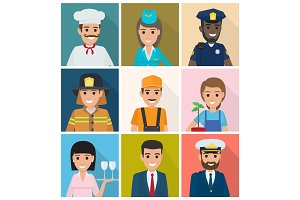 Set of Professions. Nine Square Icons Flat Design