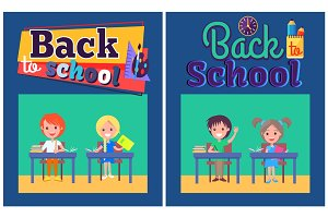 Back to School Set of Posters with Boy and Girl