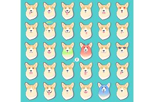 Set of Stickers with Emotions of Dog Vector