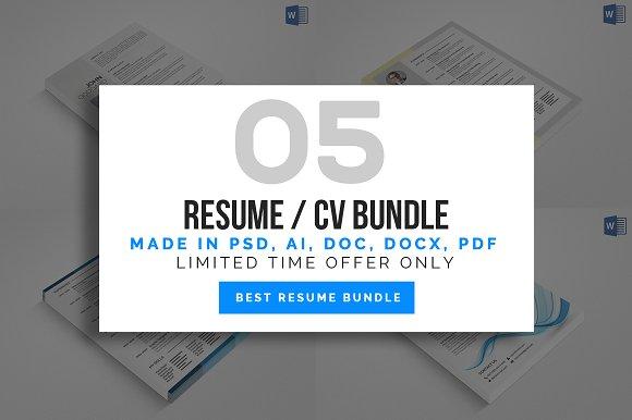 5 Resume Cv Bundle-Graphicriver中文最全的素材分享平台