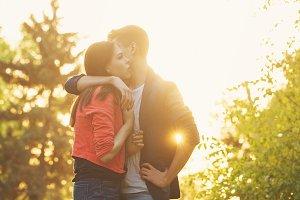 Guy hugs a girlfriend