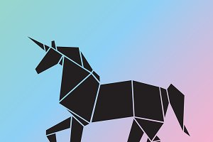 Vector of a Unicorn origami