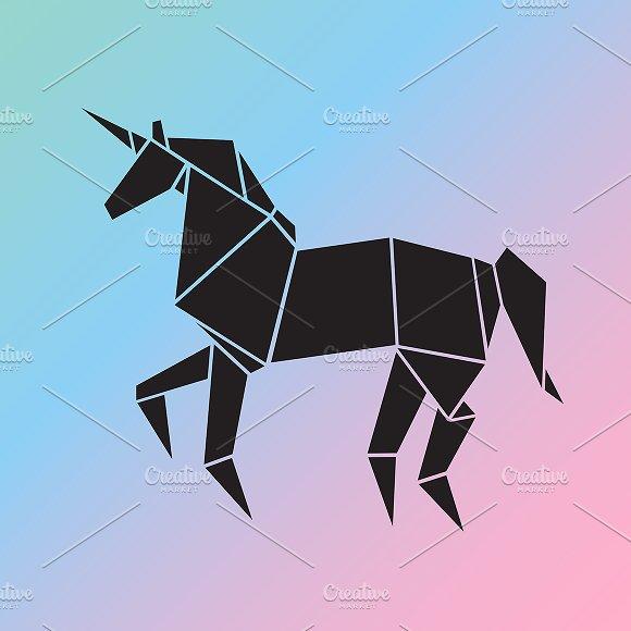 Vector Of A Unicorn Origami