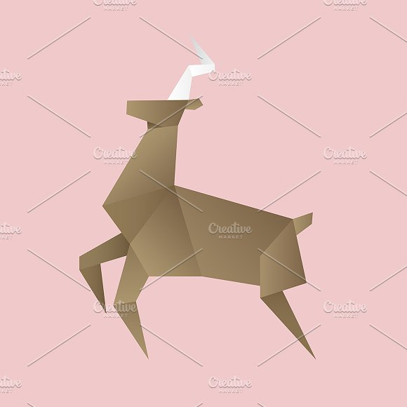 Vector Of A Deer Origami