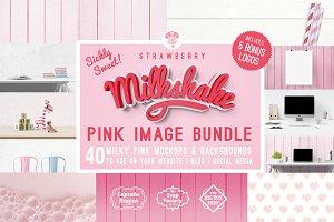pink background & mockup bundle