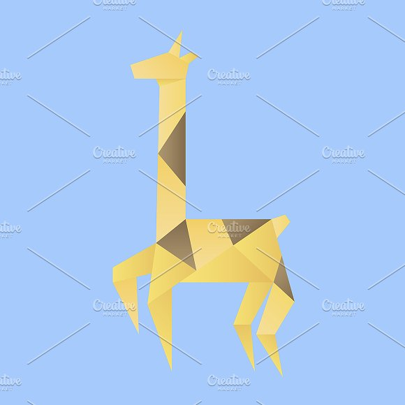 Vector Of A Giraffe Origami