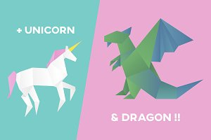 Vectors of unicorn and dragon