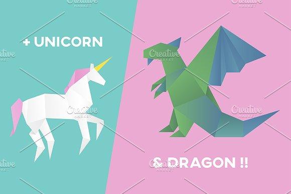 Vectors Of Unicorn And Dragon