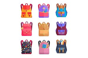 Set of Colorful Rucksacks for Girls or Boys Vector