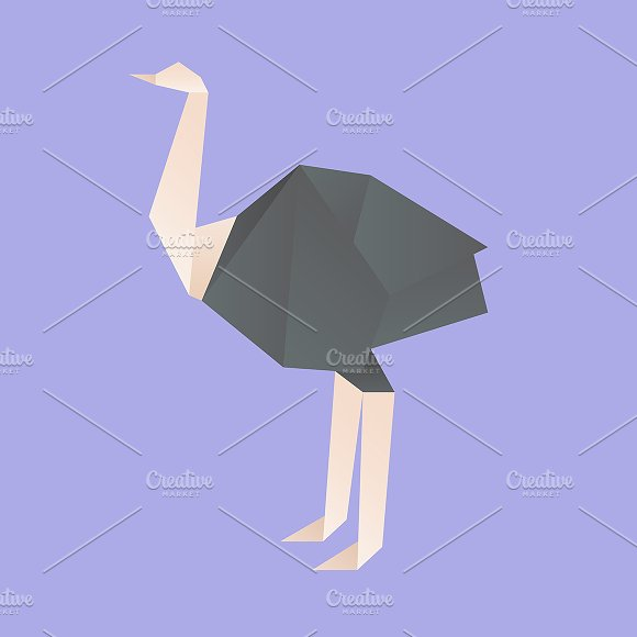 Vector Of An Ostritch Origami