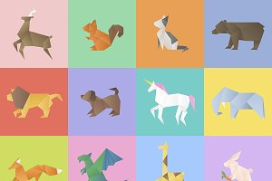 Vector of Various animals origami