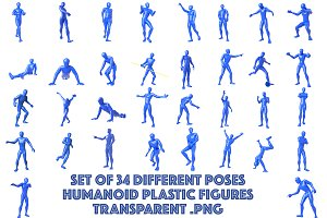 Human figures in 34 different poses