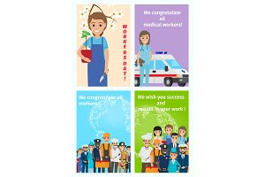 Four Color Congratulatory Cards for All Workers