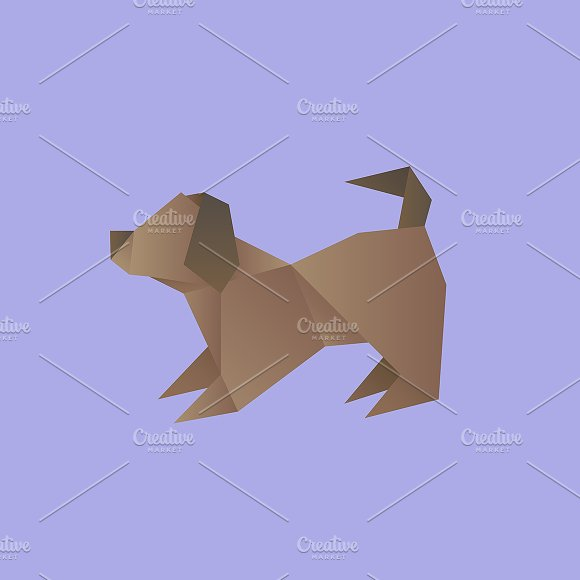 Vector Of A Dog Origami