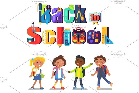 Back To School Poster With Inscription And Kids