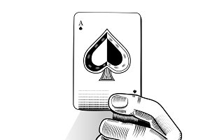 Vector of hand holding playing card