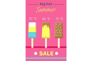 Hot Summer Poster with Ice Cream Vector Banner