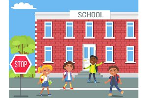 Children in Front of School Cartoon Illustration