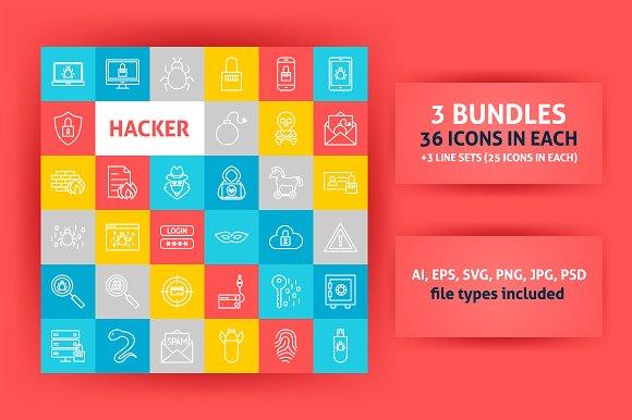 Hacker Line Art Icons