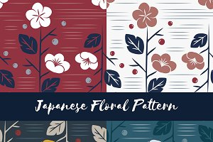 Vector of seamless Japanese floral