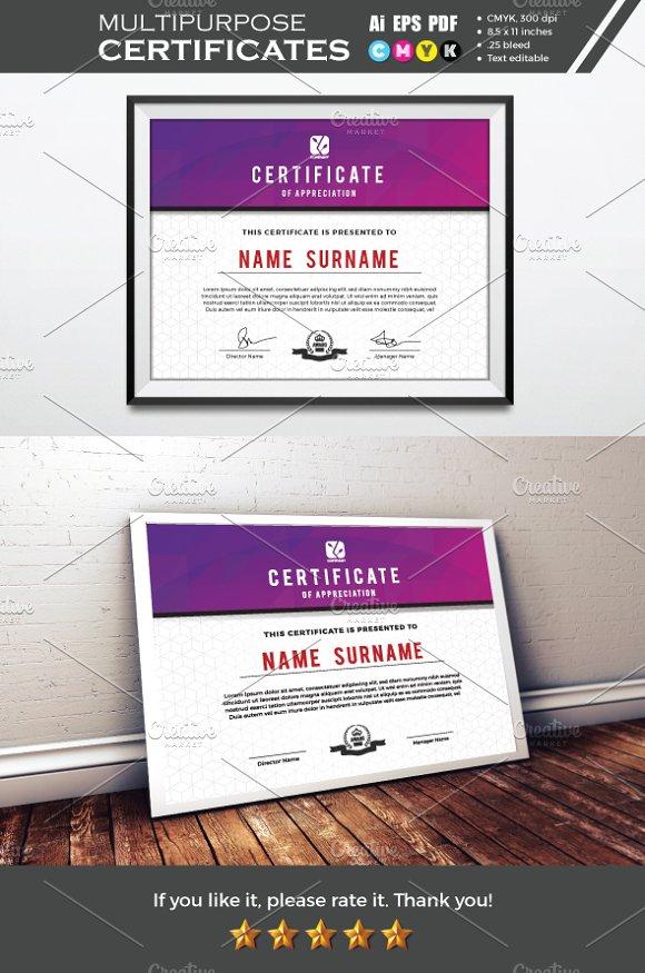 Multipurpose Certificate Template Stationery Templates Creative
