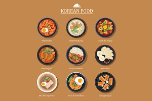 Set of korean food flat design
