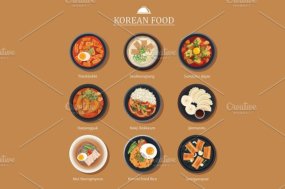 Set Of Korean Food Flat Design