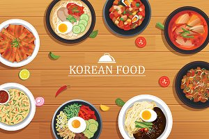 korean food on a wooden table
