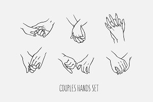 Set of love couples holding hands