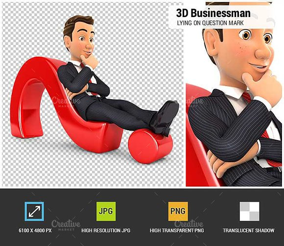 3D Businessman Question Mark