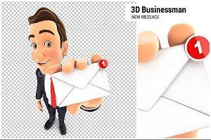 3D Businessman New Message