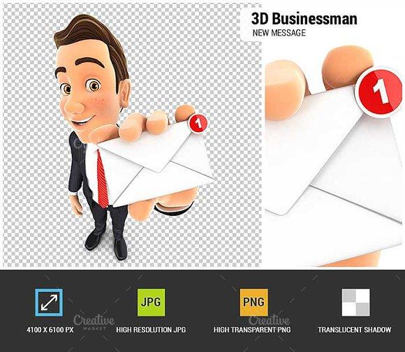 3D Businessman New Message